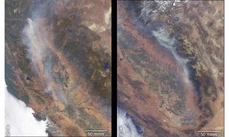 Image: Satellite views fires raging in California