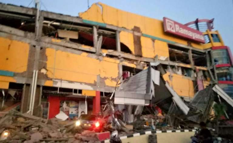 Indonesia's disaster agency released a picture showing a collapsed shopping mall in Palu, Central Sulawesi