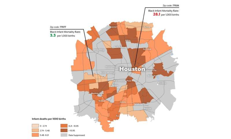 Infant mortality rates in Texas vary dramatically from one zip code to the next
