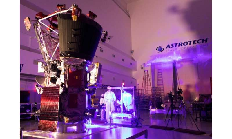 In this image released by NASA, technicians and engineers perform light bar testing on NASA's Parker Solar Probe at the Astrotec