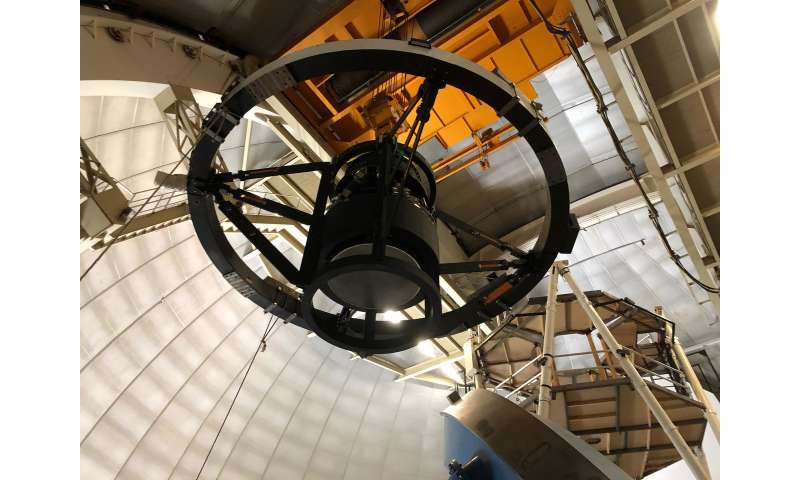 Key components of the Dark Energy Spectroscopic Instrument are installed atop the Mayall Telescope