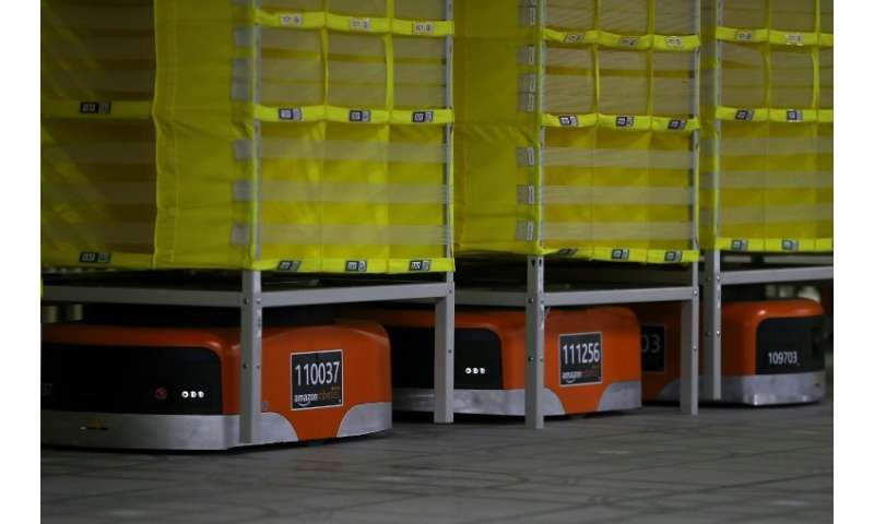 Known for its logistical prowess, Amazon uses robotics technology and vision systems at a fulfillment center in Sacramento, Cali