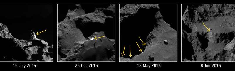 Landslides, avalanches may be key to long-term comet activity