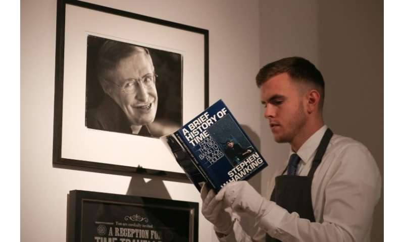 Lots include an early edition of his bestselling book 'A Brief History of Time' marked with a thumbprint, and a script from one