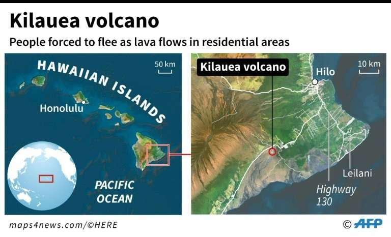 Map of the Hawaiian islands locating Kilauea volcano on Hawaii island, which erupted on Thursday, prompting an evacuation