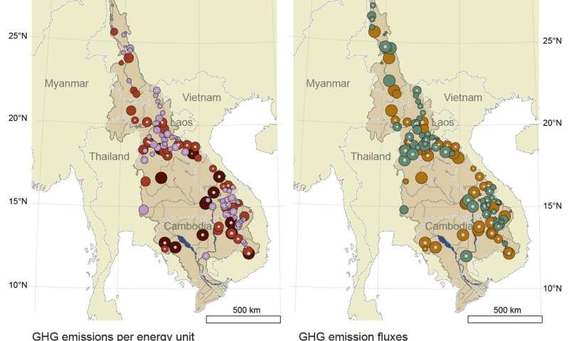 Mekong River Basin hydropower carbon emissions can exceed those of fossil fuel energy sources