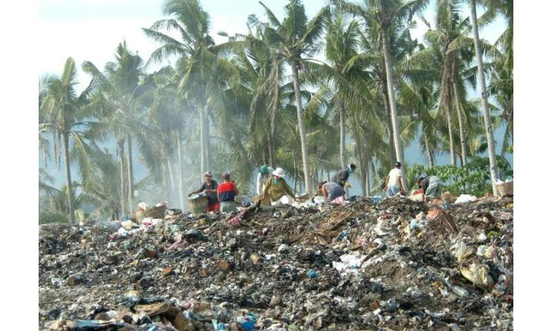 Mountains of garbage were left behind by the thousands of tourists who visited the central Philippine resort island of Boracay b