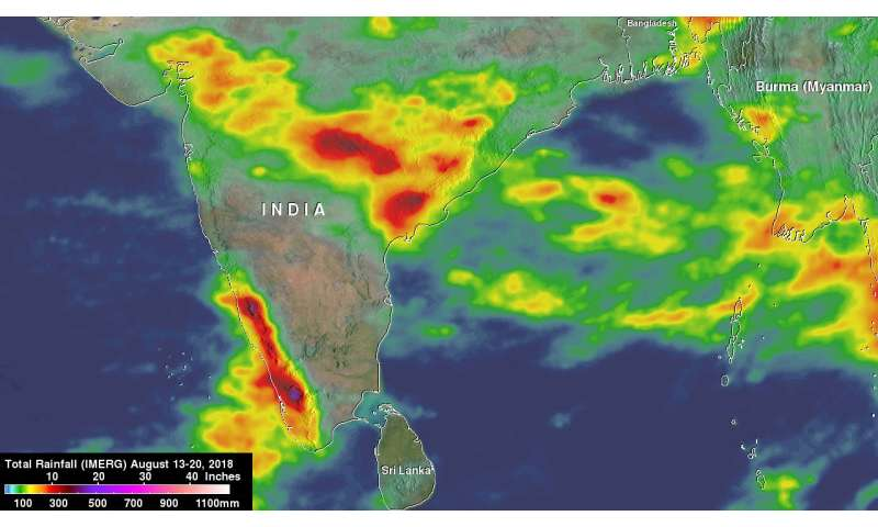 NASA captures monsoon rains bringing flooding to India