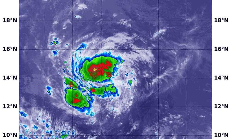 NASA covers Hurricane Isaac's ragged center
