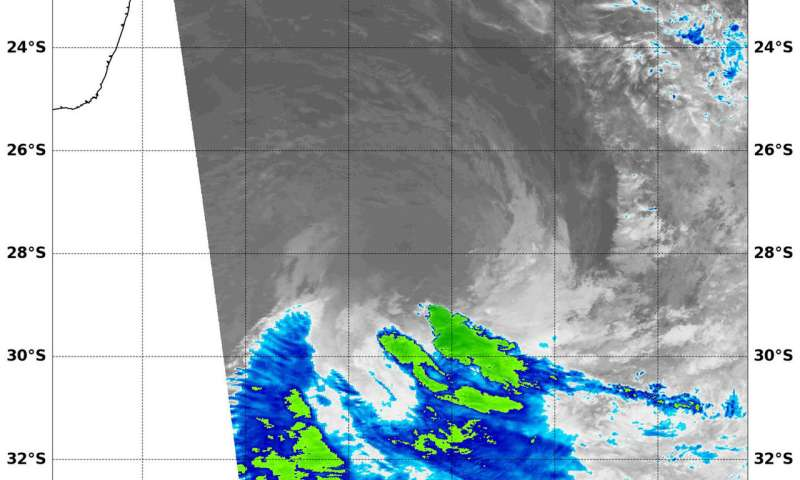 NASA infrared imagery shows a powerful Tropical Cyclone Marcus