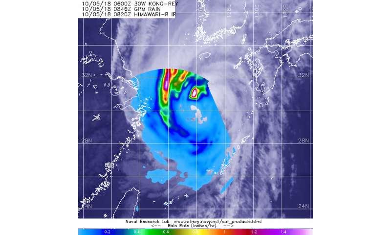 NASA investigates Tropical Storm Kong-Rey's rainfall rates