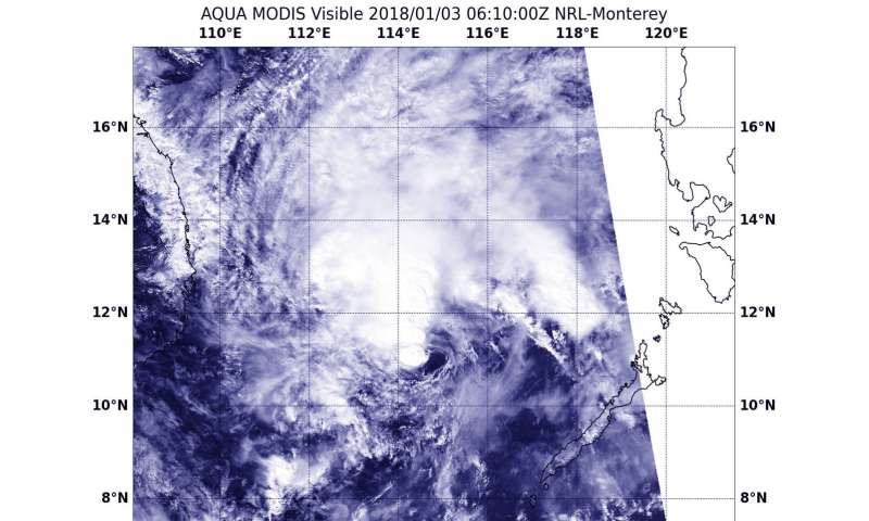 NASA's Aqua satellite sees Tropical Depression Bolaven battling wind shear
