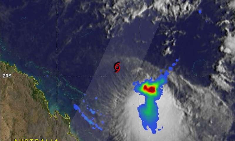 NASA's GPM shows rainfall southeast of sheared Tropical Cyclone Iris