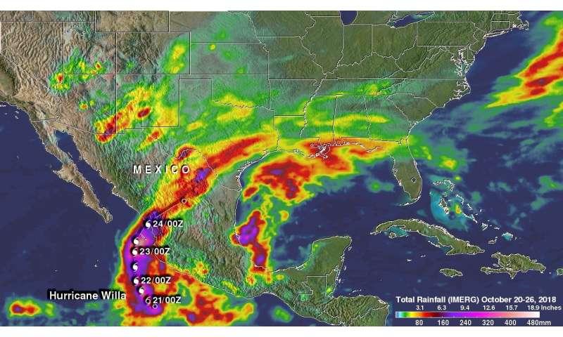 NASA's IMERG reveals Hurricane Willa's rainfall