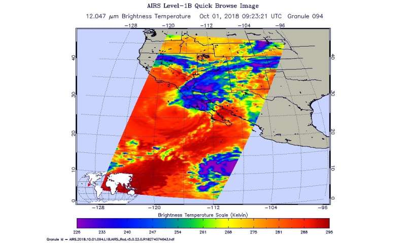 NASA's infrared vision reveals Rosa's extent into the US southwest
