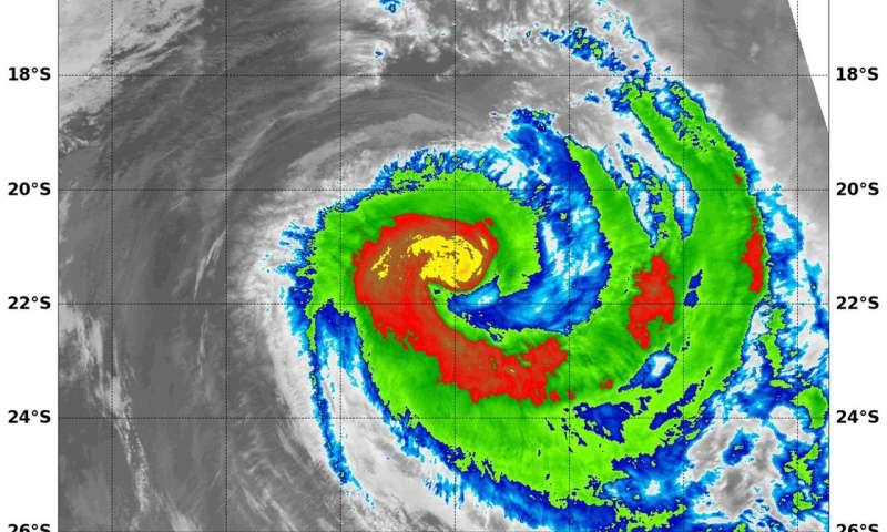 NASA tracks a weaker comma-shaped Tropical Cyclone Marcus