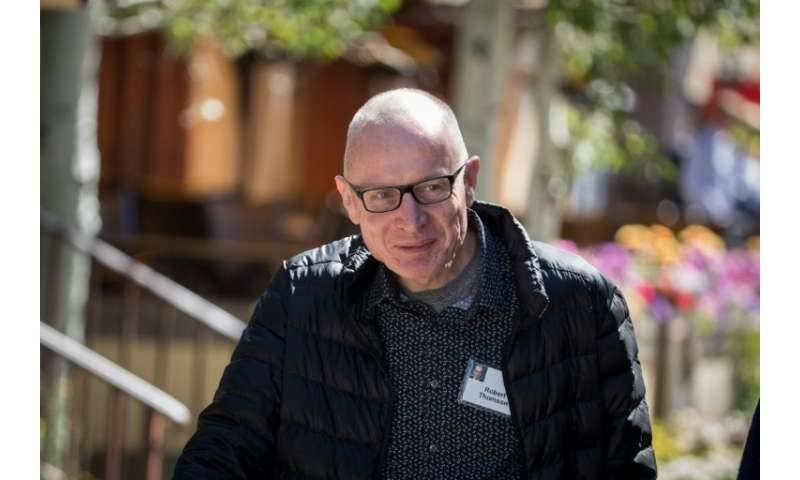 News Corp CEO Robert Thomson, seen at a 2017 conference, stepped up his criticism of Google and Facebook as his firm released qu