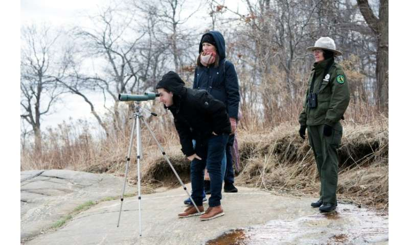 New York City Park Rangers A. Duran (R) helps wildlife enthusiasts view seals on March 10, 2018 near Orchard Beach in New York