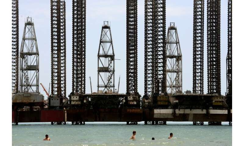 Offshore oil rigs in Baku, the capital of Azerbaijan