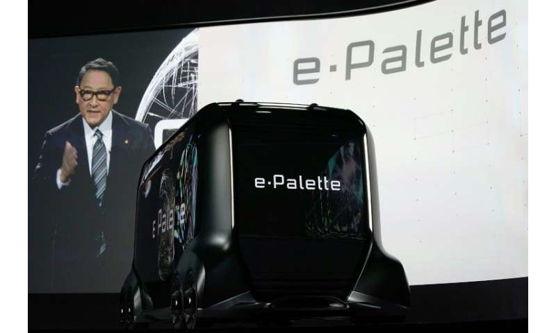 President of Toyota Motor Corporation Akio Toyoda introduces the e-Palette Concept Vehicle, a fully autonomous vehicle for rides
