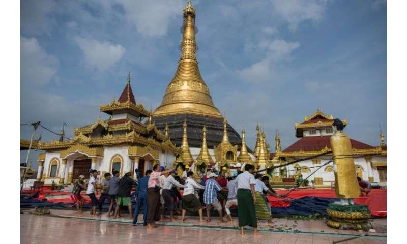 Rains triggered a landslide that damaged the hilltop Kyeik Than Lan pagoda in Mawlamyine