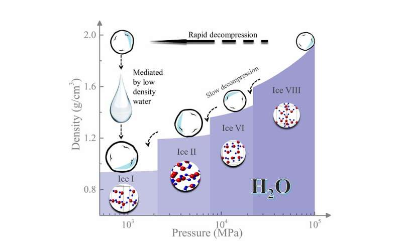 Rapid decompression key to making low-density liquid water