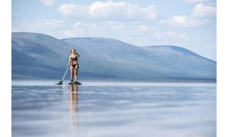 Santra Hostikka enjoyed a paddle on Lake Pallas in Finland's northernmost Lapland province