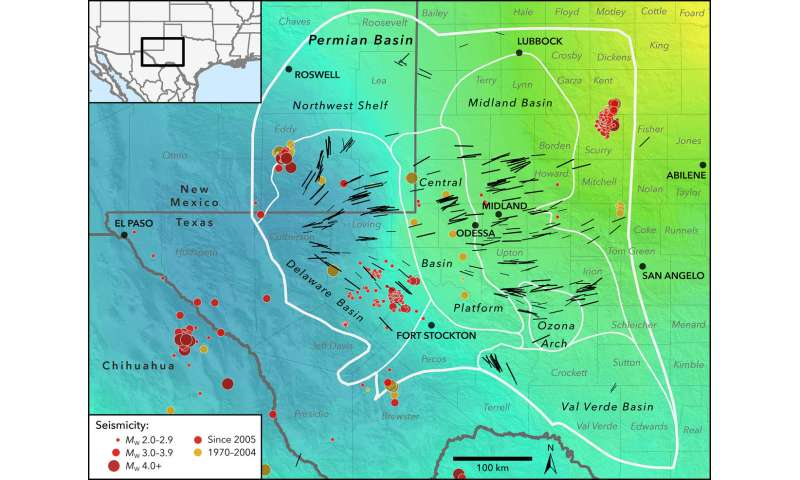 Map Of West Texas And New Mexico.Seismic Stress Map Profiles Induced Earthquake Risk For West