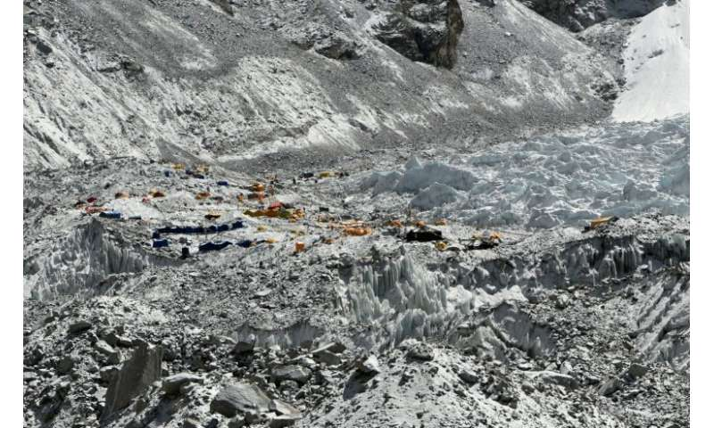 Tents at Everest base camp. No qualifications are needed to work on the mountain and although some expedition operators require