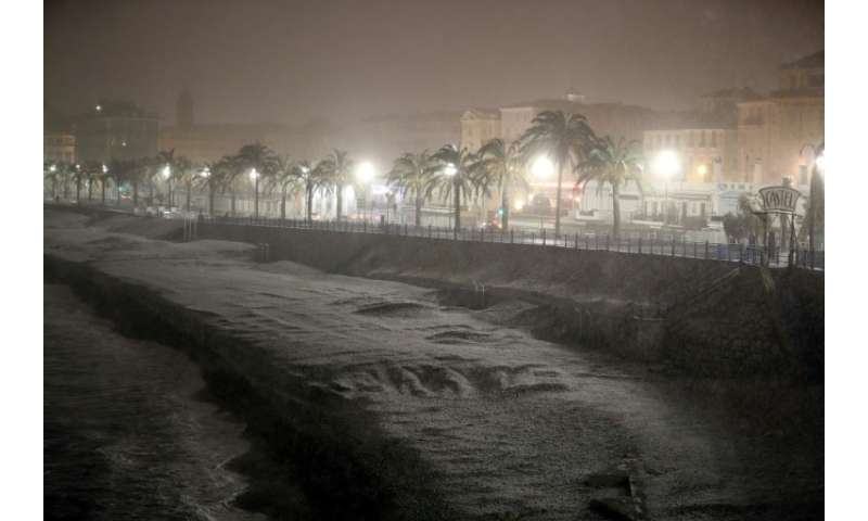 The beach on the Mediterranean city of Nice was covered by snow.