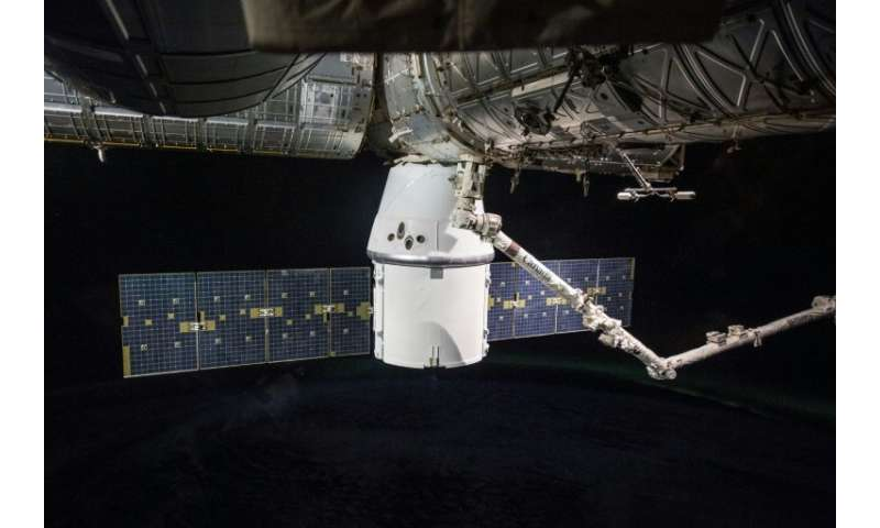 The Dragon capsule provides supplies to the International Space Station