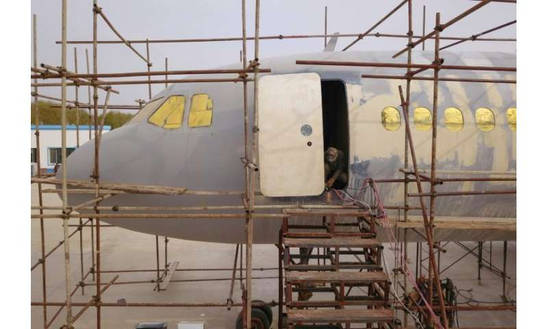 The full-scale replica of the Airbus A320 built by farmer Zhu Yue is now nearly finished