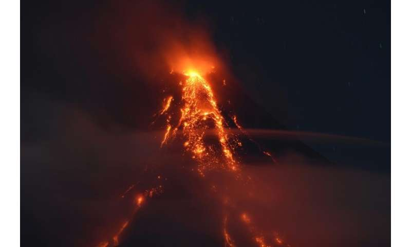 The Mayon volcano has been emitting flaming lava and giant clouds of superheated ash