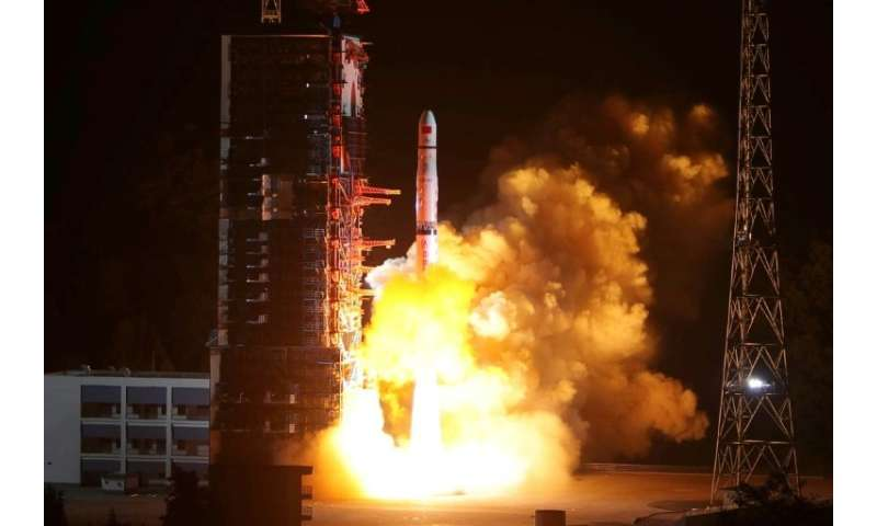 The Queqiao 'Magpie Bridge' satellite was blasted into space from the southwestern Xichang launch centre