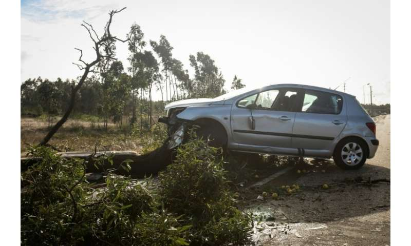 The region around capital Lisbon and the centre of the country at Coimbra and Leiria were worst hit with trees uprooted, cars an