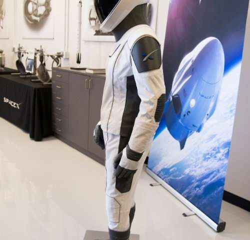 The SpaceX spacesuit to be worn by NASA astronauts when they travel to the International Space Station aboard the SpaceX Crew Dr