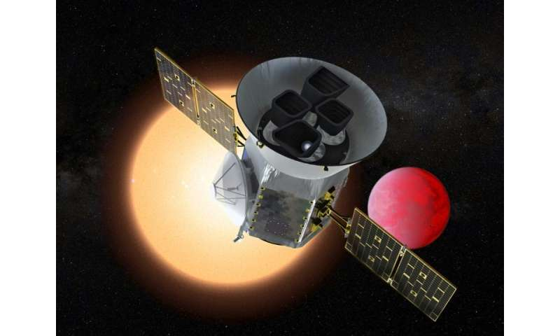 This artist's rendition from NASA shows the Transiting Exoplanet Survey Satellite, or TESS, which is set for launch Monday on a