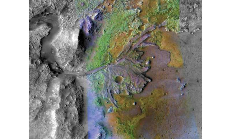 This NASA file image released on November 19, 2018 shows the Jezero Crater delta on Mars