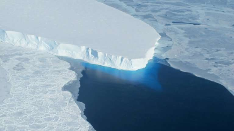 This NASA picture shows part of the Thwaites glacier, in Antarctica, which is the size of Britain