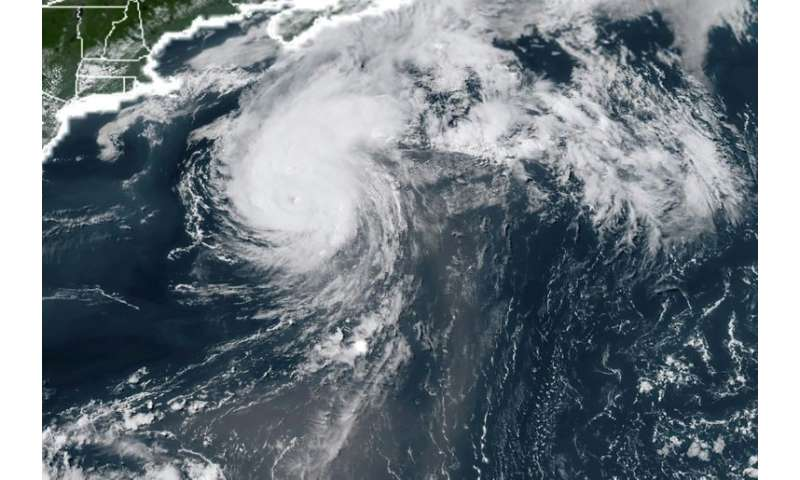 This NOAA/RAMMB satellite image shows Hurricane Chris off the US East Coast on July 11, 2018, but forecasters say this Atlantic