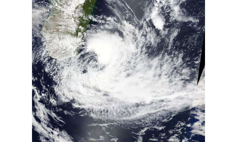 Tropical Cyclone Ava moving away from Madagascar