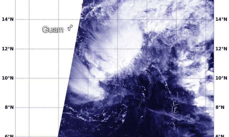 Tropical Storm watch up in Guam, NASA sees 02W form