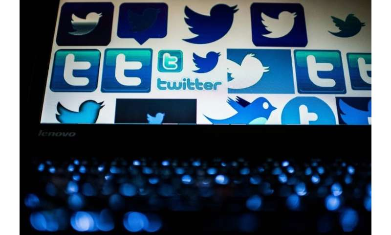 Twitter logos on a computer screen in Beijing: some two thirds of all popular links pushed by the social media platform were gen