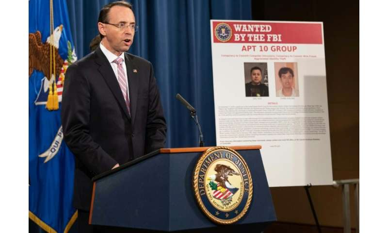 "US Deputy Attorney General Rod Rosenstein said the indictment of the two Chinese hackers was meant to rebuff ""China's econo"