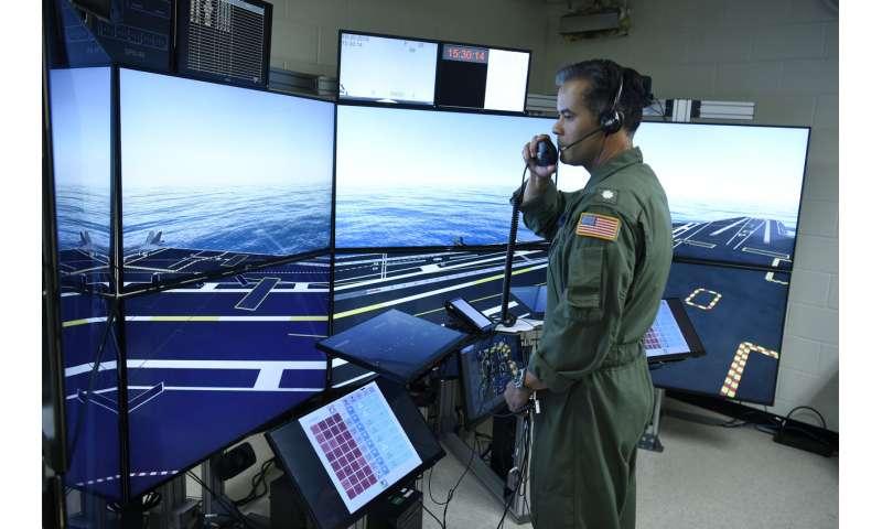 Virtual training for aircraft carrier flight deck crews