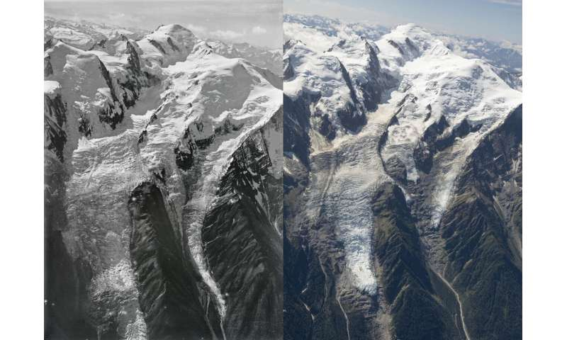 Aerial photographs shed light on Mont Blanc ice loss