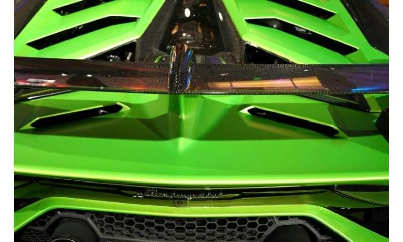 A Lamborghini Aventadoron is on display