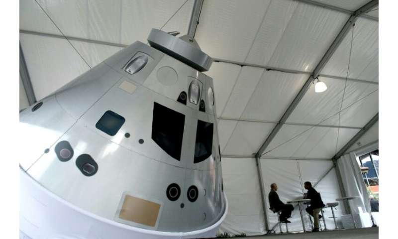 A lifesize model of the Orion capsule at the 35th Space Symposium in Colorado Springs