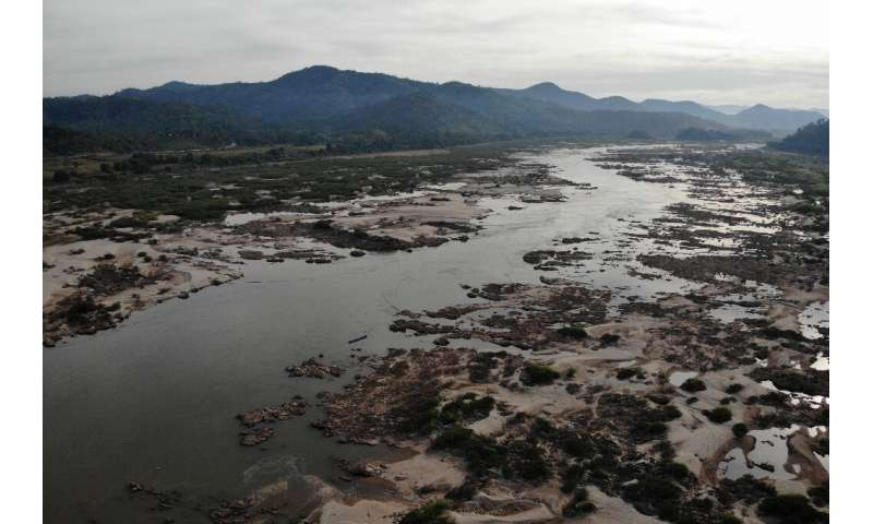 Along parts of the northeastern Thai border, the river has shrivelled to a few dozen metres in width