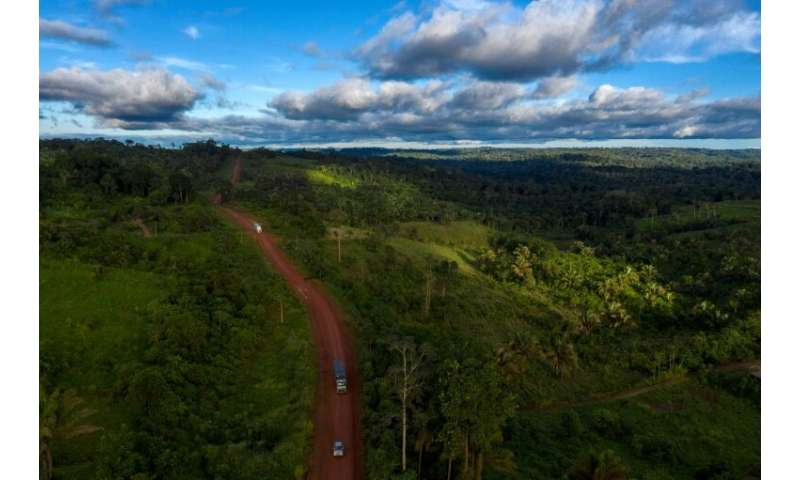 An aerial view of the Trans-Amazonian Highway, which cuts through the rainforest